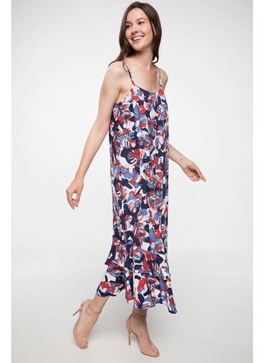 DeFacto İp Askılı Desenli Uzun Elbise Lacivert